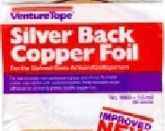 3/8 inch (( SILVER BACK )) 36 yard roll of Copper Foil Adhesive Backed Tape ((( the Perfect WIDTH for my pendant glass )))
