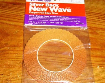 36 yard roll of New Wave - Wavy Edge Copper Foil SILVER BACK Tape for Solder Art Pendants Charms etc. A Decorative Scalloped Edge