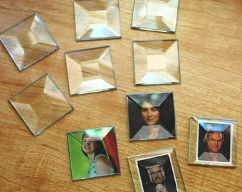 Ornament size Memory Glass 2 inch Squares (10 pack) Solder Art Pendant Clear Glass. 2 x 2 SQUARE BEVEL FLAT on back side.