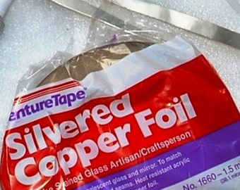 1/2 Inch WIDE ((( Silver on BOTH SIDES ))) Copper Foil Adhesive Back Tape - Venture 36 yard roll for Memory Glass Pieces