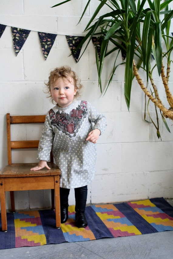 flannel polka dot owl dress- Supayana baby toddler