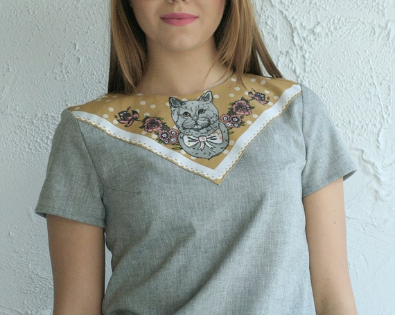 cat print top grey cotton Supayana- Choose from Small, Medium, or Large