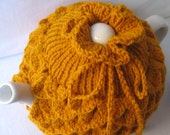 Teapot Cozy Tea pot cozy, tea accessories wool cozy Crocodile stitch - large in gold wool