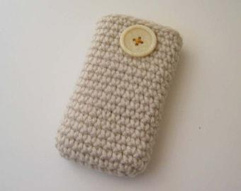 Travel Tissue Cosie - Cream , top opening , cell phone , Kleenex carrier , card holder