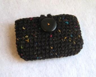 Travel tissue holder, tissue cozy,  Black speckle, side opening, cell phone, Kleenex carrier, card holder