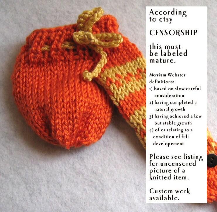 Willy Warmer Knitting Pattern : Trouser Snake willie warmer orange willy warmer or penis