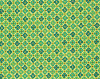 Denyse Schmidt Flea Market Fancy Legacy Collection Medallion Green cotton Fabric by the yard