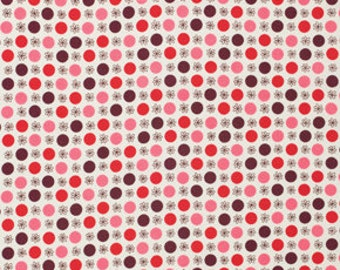 Denyse Schmidt Flea Market Fancy Legacy Collection Flower Dots Red cotton Fabric by the yard