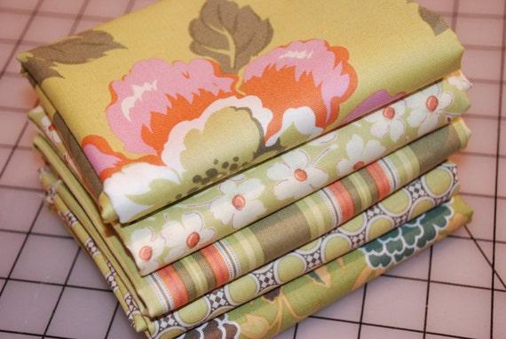 Amy Butler Gypsy Caravan Cotton Fabric Mixed Half Yard Bundle Green 2.5 yards total