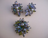 SALE-Vendome signed Vintage AB Watermelon crystal rhinestone Parure set- Clip earrings and brooch