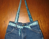 Blue Jean purse with blue green flowered straps