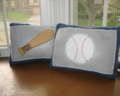 Baseball and Bat Accent Pillows