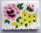 Hand Painted Card - Berry Wine Roses and Yellow flowers - No. 546