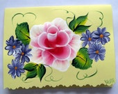 Hand Painted Card - Red Roses and Purple Flowers - No. 548