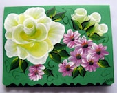 Hand Painted Card - Yellow Roses and Pink Flowers - No. 552