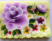 Hand Painted Card - Deep Violet Roses and Flowers - No. 553