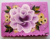 Hand Painted Card - Deep Violet Rose and Daisies - No. 556