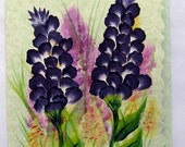 Hand Painted Card - Larkspur Flowers - No. 557