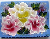 Hand Painted Card - Red and Yellow Roses - No. 558