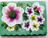 Hand Painted Card - Pink, Yellow and Violet Flowers - No. 559