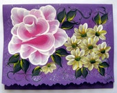 Hand Painted Card - Pink Rose and Daisies - No. 560
