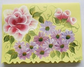 Hand Painted Card - Red Roses and Purple Metallic Flowers - No. 563