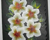 Hand Painted Card - White Flowers - No. 565