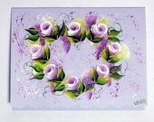 Hand Painted Card - Violet Rose Buds in Heart Shape - No. 567
