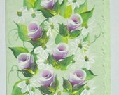Hand Painted Card - Violet Rose Buds and Daisies- No. 569