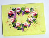 Hand Painted Card - Red Rose Buds in Heart Shape - No. 570