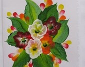 Hand Painted Card - Mixed Flowers - No. 574