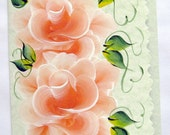 Hand Painted Card - Orange Roses - No. 576