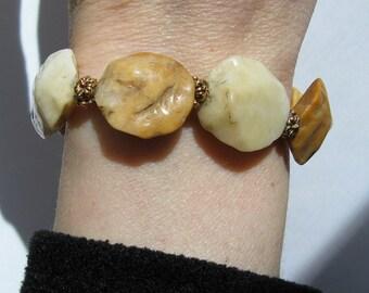 Yellow Agate Nuggets Bracelet - B115