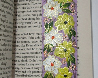 Hand-painted Magnetic Bookmark - Flowers and Daisies - No. 1093
