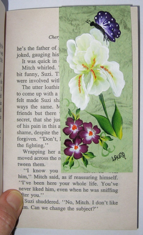 Hand-painted Magnetic Bookmark - Iris, Purple Flowers and Butterfly - No. 1096