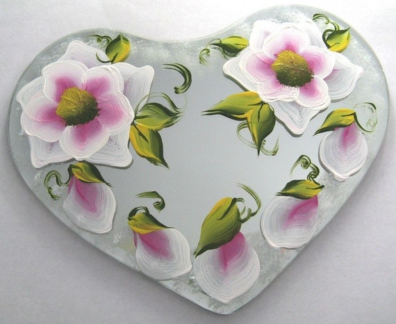 Hand Painted Heart Table Mirror - Enamel Paint - Pink Flowers - 494