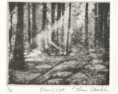 BEAM OF LIGHT original etching signed and numbered