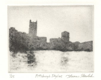 PITTSBURGH SKYLINE limited edition etching of Pittsburgh