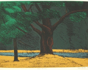 RIVERSIDE TREE REDUX original hand printed serigraph