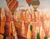 FREE SHIPPING, Bryce Canyon,  Hot air balloons, Original fine art, Acrylic painting by Jordanka Yaretz