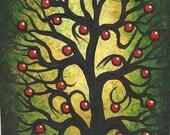 Tree painting, Apple tree, original fine art, Original painting, acrylic painting by Jordanka Yaretz