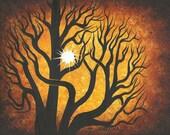 Tree art, Sun art, Art, Forest painting, Original acrylic painting, landscape by Jordanka Yaretz