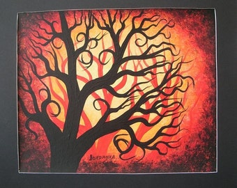 Red forest, trees, Orignal one of a kind Acrylic painting by Jordanka Yaretz