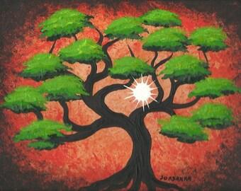 Tree painting, Bonsai tree, sun, Original fine art, Acrylic painting by Jordanka Yaretz