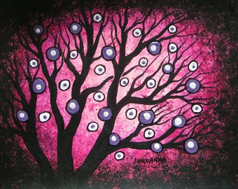 Pink Forest, trees, Wall Art, Home decor, Tree painting, Original Acrylic painting