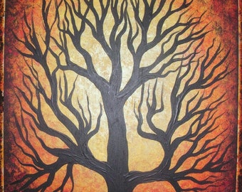 Art, Oak tree, Original acrylic painting on wood board by Jordanka Yaretz