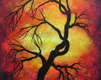Original fine art, Acrylic painting, tree, RED, Mystic firestorm by Jordanka Yaretz