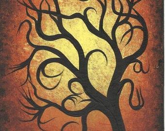 Original Acrylic painting, Autumn tree, branches,  by JORDANKA YARETZ