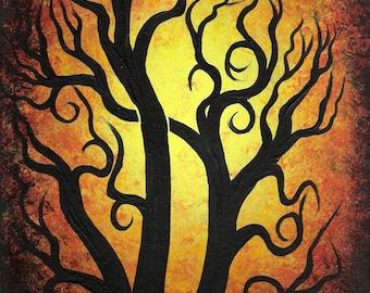Autumn forest, Tree painting, Original fine art, Acrylic painting by Jordanka Yaretz