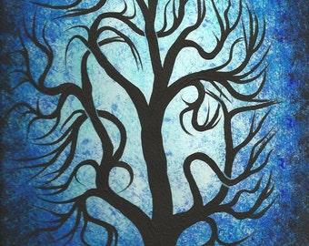 Blue tree, Oak Tree, Original fine art, Acrylic painting by Jordanka Yaretz, UNICEF Artist